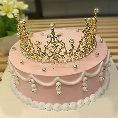 Amazon Gisiny Gold Tiara Crown Cake Topper For Girls Princess Birthday Decoration Kitchen Dining