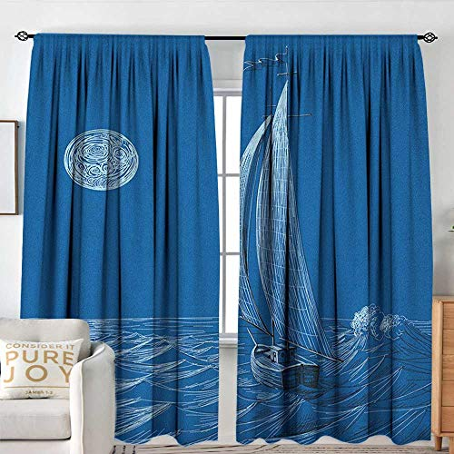 Blackout Thermal Insulated Window Curtain Valance Sailboat Nautical,Night Sea View Sail Boat in Moonlight Wavy Nautical Ship Illustration, Violet Blue,Rod Pocket Valances 54