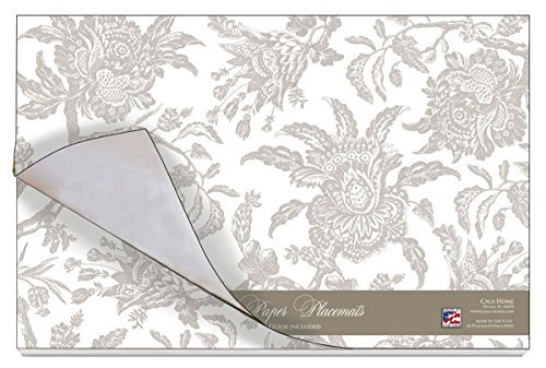 Cala Home 24-Pack Disposable Paper Placemats, Williamsburg Arcadia - Summer Mist Dinner