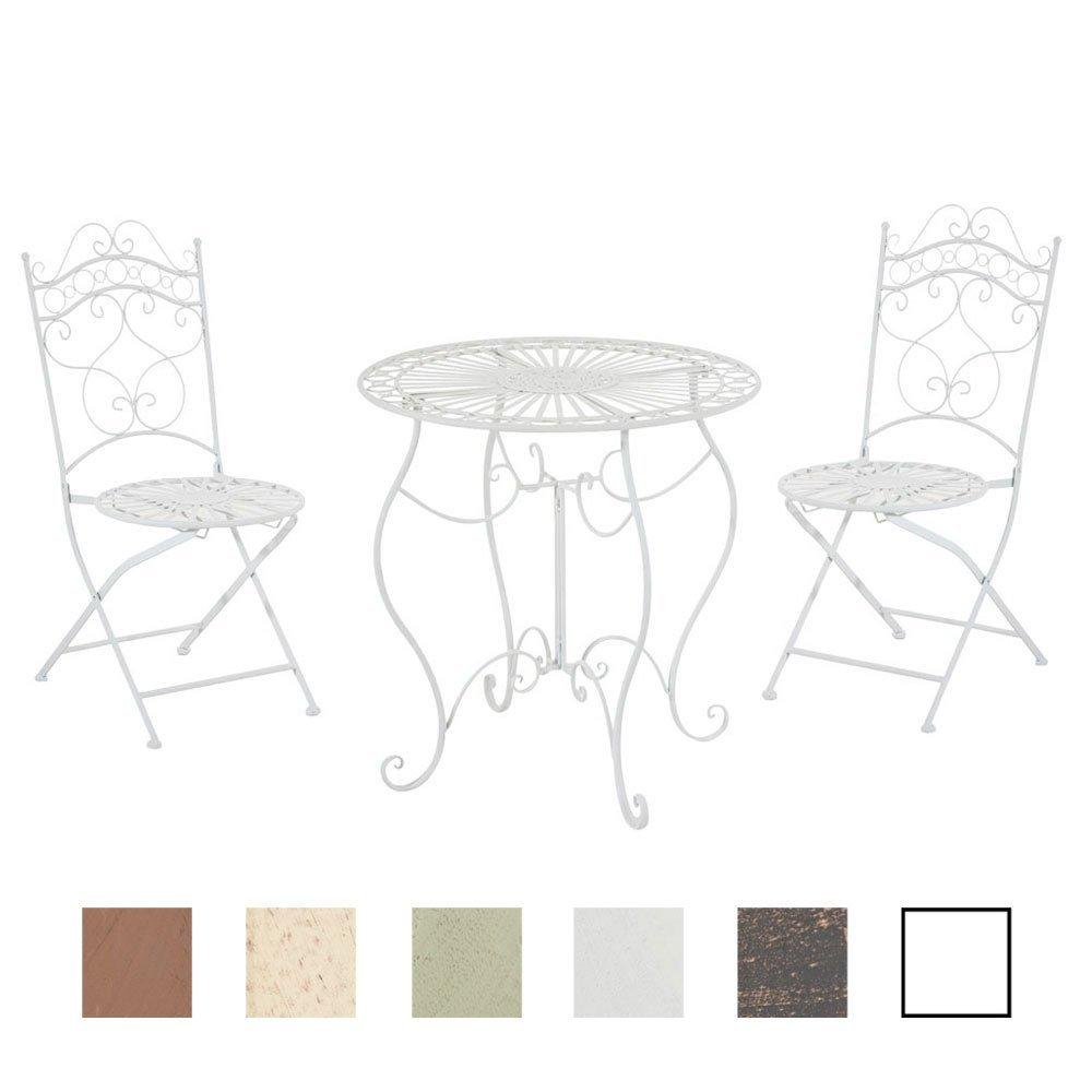 CLP Garten-Sitzgruppe INDRA, Metall (Eisen) Design antik, Tisch rund Ø 70 cm weiß