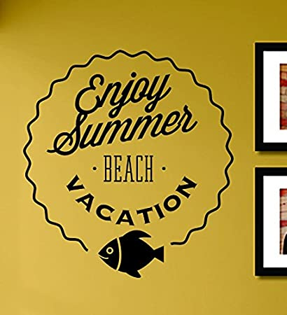 Amazon.com: Enjoy Summer Beach Vacation Vinyl Wall Decals Quotes ...