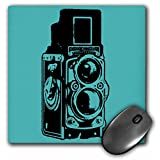3dRose LLC 8 x 8 x 0.25 Inches Mouse Pad, Picture of a Vintage Twin Lens Reflex Tlr Camera, Cyan (mp_20708_1)
