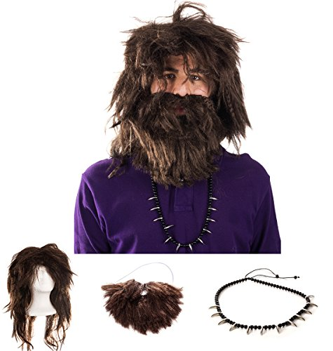 Tigerdoe Caveman Costume - (3 Pc Set) Wig and Beard Set - Costume Accessories - Caveman Beard and Wig Set -