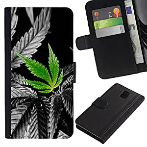 KingStore / Leather Etui en cuir / Samsung Galaxy Note 3 III / Planta de cannabis Weed cá?amo Naturaleza Amor