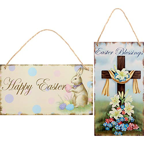 Chuangdi 2 Pieces Happy Easter Wood Hanging Plaque Bunny Cross Hanging Sign with Twine for Easter Decoration