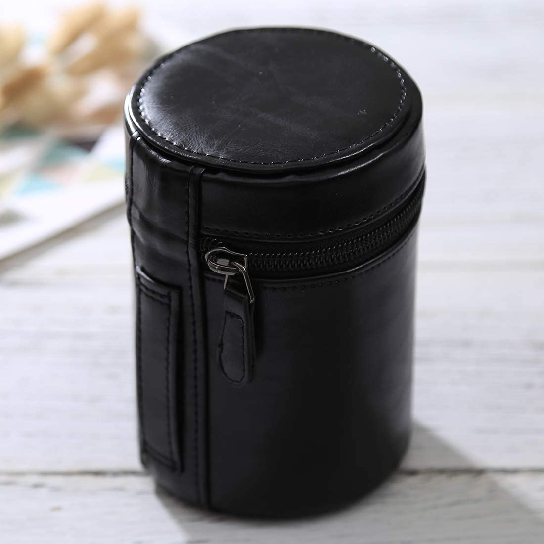 Size: 13x9x9cm HUANGMENG Bag Medium Lens Case Zippered PU Leather Pouch Box for DSLR Camera Lens Black HUANGMENG Color : Black