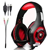 Beexcellent Gaming Headset GM-1 with Microphone for New Xbox 1 PC PS4 Cellphone Laptops Computer - Surround Sound, Noise Reduction Game Earphone-Easy Volume Control with LED Lighting 3.5MM Jack(Red)