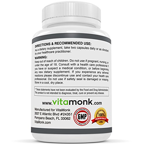 VitaMonk™ Alpha GPC Capsules The #1 Bioavailable Choline Supplement To Support Brain Cognition 60 Alpha GPC 325mg Capsules. NO Artificial Fillers