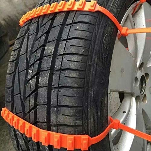 Anti-Skid Emergency Winter Driving Tire Cable Belts Fit Tire Wheel Widths 175-295 Orange 10 Pieces Jeremywell Universal Snow Tire Chain for Car Truck SUV