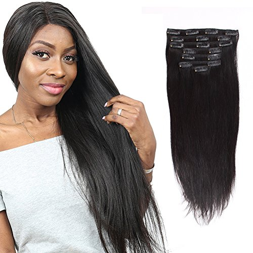 Beauty : Sassina Real Thick Human Hair Clip In Extensions Brazilian Virgin Hair Silky Straight Clip-ins Natural Black Color 7 Pcs/set 120 Grams With 17 Clips SS 18 Inch