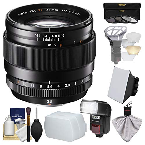 Fujifilm 23mm f/1.4 XF R Lens with Flash + Soft Box + 2 Diffusers + 3 Filters Kit for X-A2, X-E2, X-E2s, X-M1, X-T1, X-T10, X-Pro2 Cameras