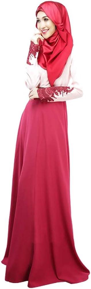 DAZISEN Lady Lace Sleeve Dress Hijab not Included Maxi Hem Prayer Dress