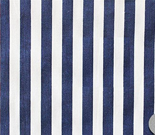 Polycotton Fabric Printed Small Stripes Blue White / 60