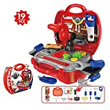 Kids Toy Tool Set Power Play Tools, 19 Pieces Construction Toys Workbench Toddler Tool Box Set Workshop Pretend Role Play Set with a Sturdy Case Gifts for Children Boys and Girls by TiTa-Dong