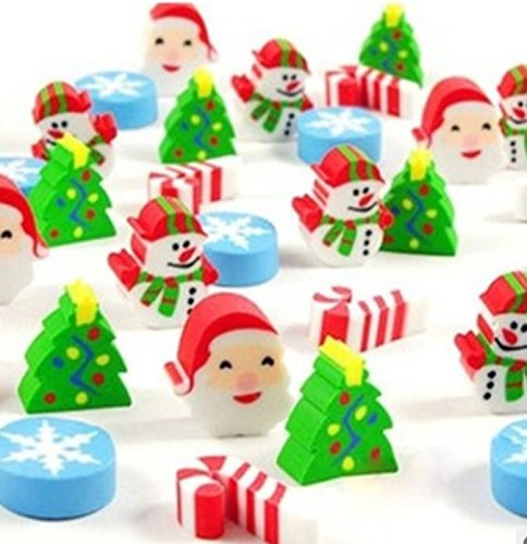 Assorted Christmas Erasers For Holiday - 200 Pcs. Amazing Kids Students Gift, Party Favor! Great Fun To Play With. By Mega Stationers
