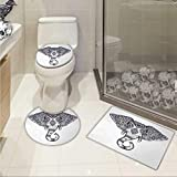 Carl Morris Elephant Mandala 3 piece toilet mat set Vintage Ornate Holy Animal Head with Floral Paisley Sacred Details Elongated Toilet Lid Cover set Purple and White