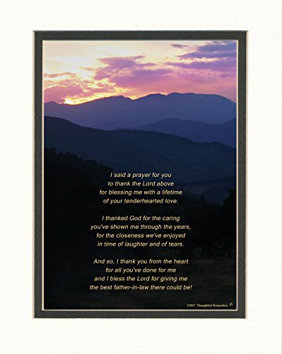 Gift for Father in Law with Thank You Prayer for Best Father-in-law Poem. Mt Sunset Photo, 8x10 Double Matted. Special Father-in-law Gifts for Birthday, Christmas, Wedding