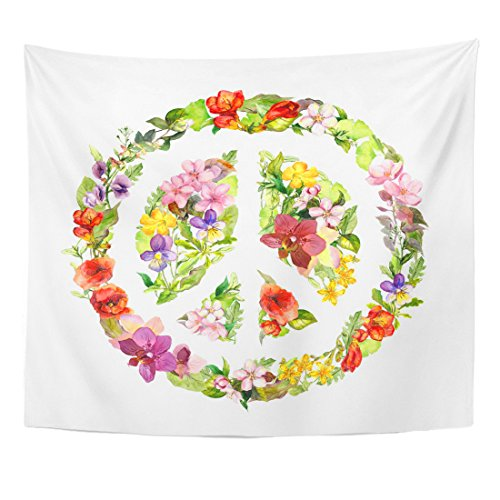 Breezat Tapestry Colorful Spirit Floral Peace Sign with Flowers
