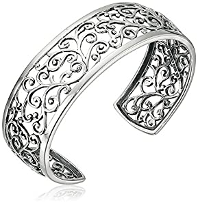 Sterling Oxidized Filigree Cuff Bracelet by Amazon Collection