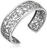 "Sterling Silver Oxidized Filigree Cuff Bracelet, 6.5"""