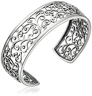 "Sterling Silver Oxidized Filigree Cuff Bracelet, 6.5"" (B000SMPNRK) 
