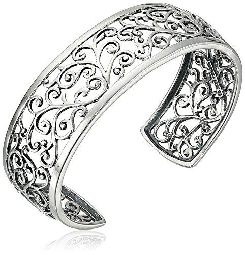 Sterling Silver Oxidized Filigree Cuff Bracelet, 6.5