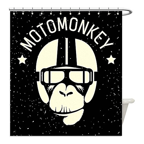 Astronaut Costume Helmet Diy (Liguo88 Custom Waterproof Bathroom Shower Curtain Polyester Outer Space Sign Alien Monkey with Astronaut Helmet in a Galaxy with Stars Poster Black and White Decorative bathroom)