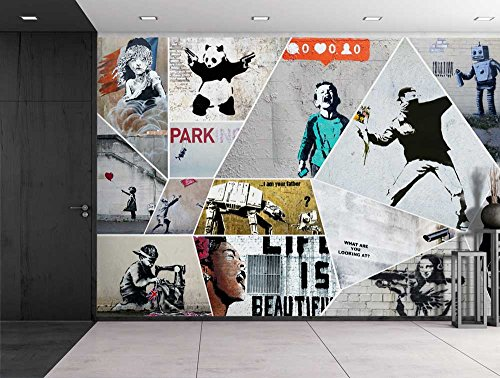 Peel and Stick Wallpapaer Banksy Art Series Collage Removable Large Wall Mural Creative Wall Decal