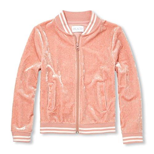 Girls Cherry Jacket - The Children's Place Big Girls' Velour Bomber Jacket, Cherry ice, L (10/12)
