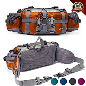 Outdoor Fanny Pack Hiking Camping Biking Waterproof Waist Pack 2 Water Bottle Holder Sports Bag for Women and Men Orange
