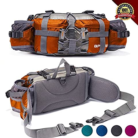 Outdoor Fanny Pack Hiking Camping Biking Waterproof Waist Pack 2 Water Bottle Holder Sports Bag for Women and Men - Lumbar Pack