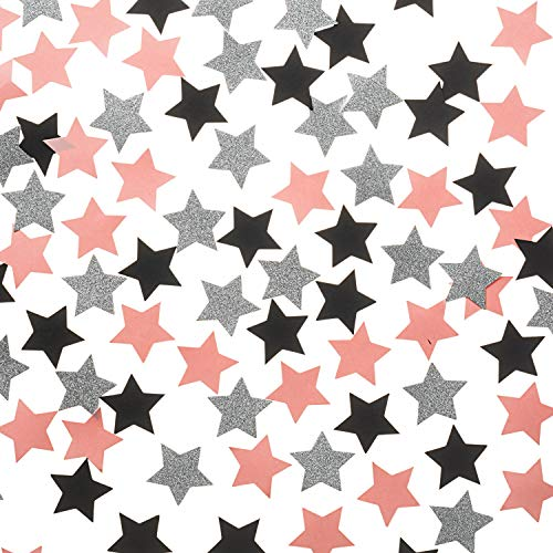 (Star Confetti Pink Black Glitter Silver Confetti for Party Table Decorations, 1.2