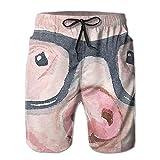 Pink Sunglasses Pig Men's Beach Boardshort Summer Casual Swim Shorts with Pockets