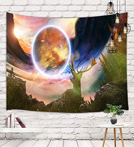 (Psychedelic Fantasy Animal Elk Tapestry Wall Hanging, Deer on Mountain with Starry Nebula Wall Tapestry Art for Home Decorations TV Backdrop Dorm Decor Living Room Girls Bedroom, Beach Towel, 80