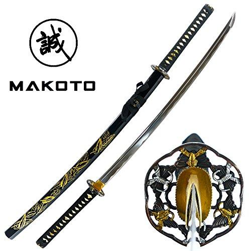 Makoto Hand Forged Razor Sharp Black Katana Sword with Hand Painted Golden Leaf Scabbard
