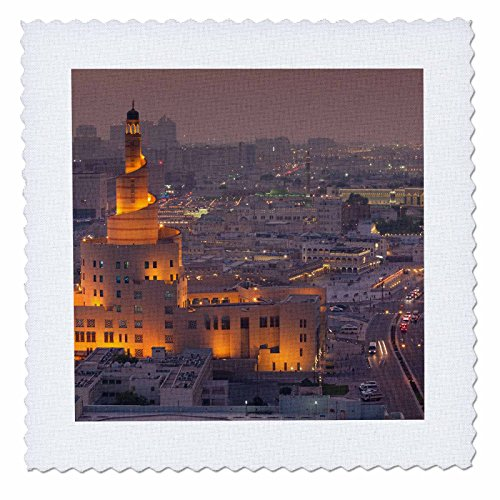 3dRose Danita Delimont - Cities - Qatar, Doha, FANAR, Qatar Islamic Cultural Center, elevated view, dusk - 16x16 inch quilt square - View Gulf Square