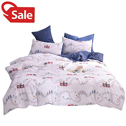 Teen Boys Queen Little Train Kids Duvet Cover White Blue 100% Cotton Railway Station Print Reversible 3 Pieces Children Teen Full Bedding Collections Sets with Zipper Closure