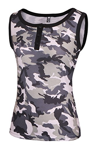 YANDW Button Scoop Neck Camo Tank Tops Ringer Tee Two Tones Camis Sleeveless Shirts for Women