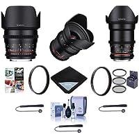 Rokinon Cine DS Lens Kit for Sony E-Mount - Consists of 20mm T1.9 WA Lens, 35mm T1.5 Lens, 50mm T1.5 Lens, With Accessory Bundle