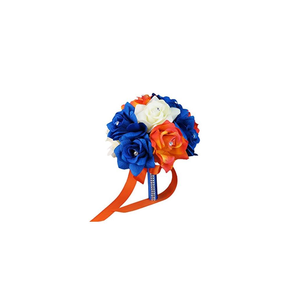 8-Wedding-Bouquet-Ivory-Royal-Blue-Orange-Artificial-Rose-Bouquet