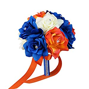 "8"" Wedding Bouquet - Ivory, Royal Blue, Orange Artificial Rose Bouquet 74"