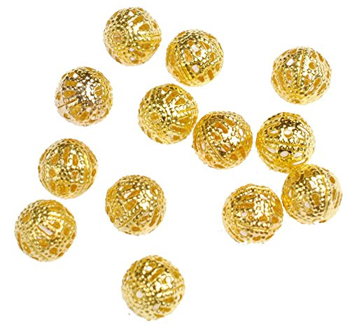 ,6,8,10,12mm) Gold Plated Round Filigree Hollow Spacer Beads (10mm) ()