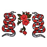TUANTUAN 3 Pcs Embroidered Snake Flower Pattern Sew On Patches for Clothing DIY Motif Applique