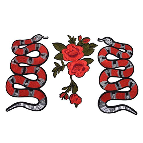 Snake Pattern Design (TUANTUAN 3 Pcs Embroidered Snake Flower Pattern Sew On Iron On Patches for Clothing DIY Motif Applique)