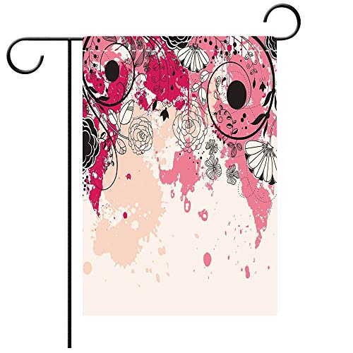 Garden Flag Double Sided Decorative Flags Floral Stylish Paintbrush Flower Petals Flourishing Blooms in Watercolor Artwork Baby Pink Decorative Deck, patio, Porch, Balcony Backyard, Garden or Lawn
