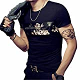 #3: LOGEEYAR Mens Cotton Fitted Short-Sleeve Graphic Printed Pullover Casual T-Shirt