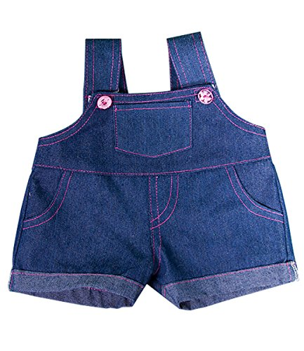 Denim Overalls w/Pink Stitching Fits Most 14