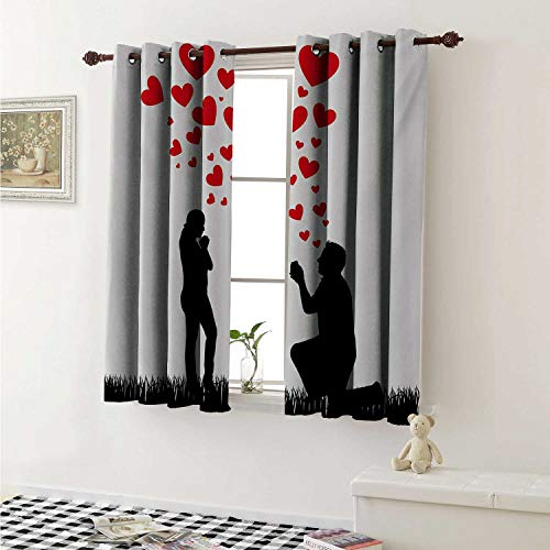 shenglv Engagement Party Blackout Draperies for Bedroom Wedding Proposal of Romantic Couple with Hearts Image Happiness Curtains Kitchen Valance W72 x L63 Inch Black White and Red