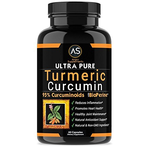 Angry Supplements Ultra Pure Turmeric Curcumin with BioPerine, Black Pepper Extract, 95% Curcuminoids, Best All Natural Powerful Antioxidant, NON-GMO, Joint Support, Heart Heath, Pain Relief (1-Pack)