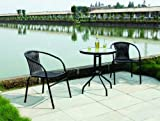 Garden Patio All Weather Black Wicker 3 Piece Bistro Set Patio Outdoor Furniture